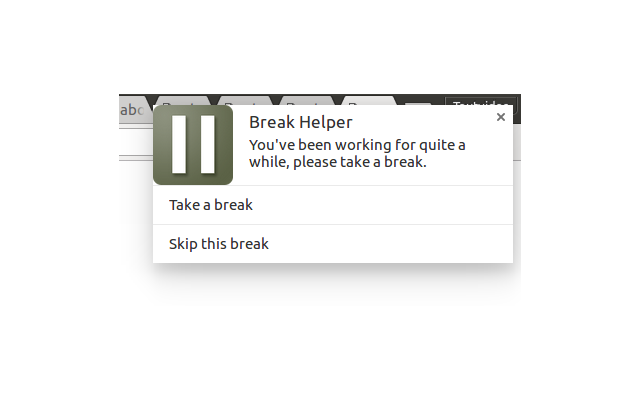 Break Helper's time for a break notification